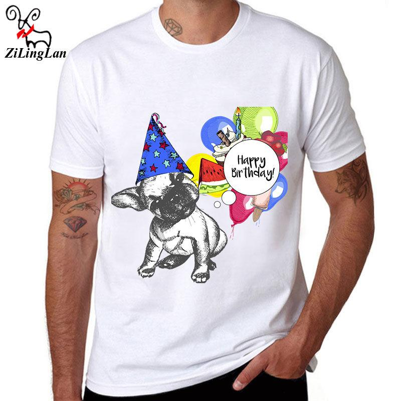 Happy Birthday Cotton Mens Short Sleeve O Neck T Shirt Tees Funny Dog Printed Online With 1299 Piece On Bstdhgate05s Store