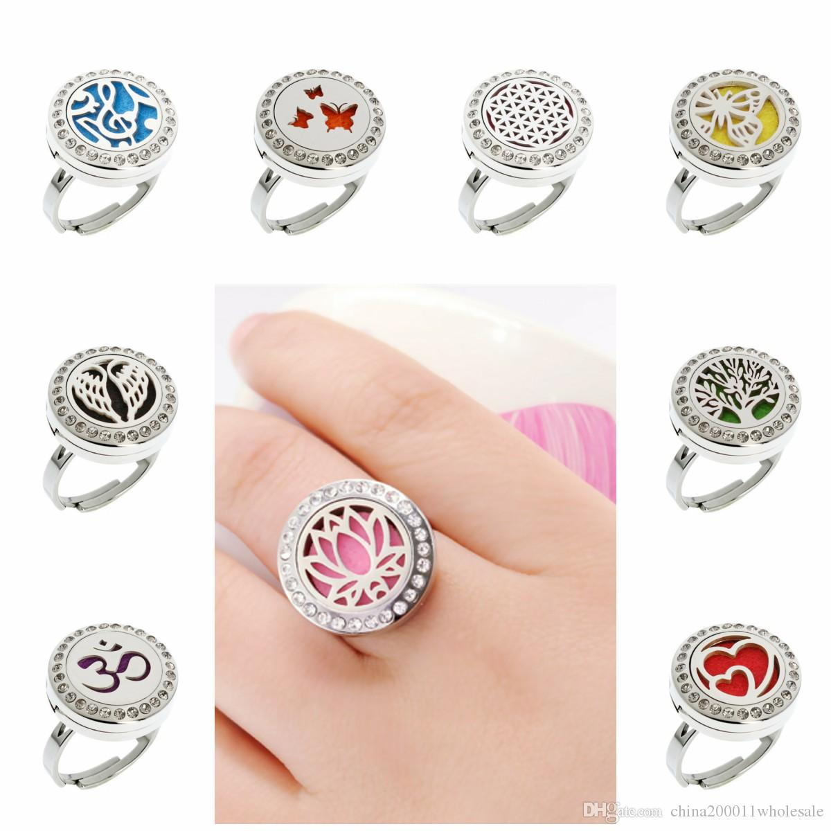 Lotus Flower Wing Crystal Adjustable Rings 20mm Stainless Steel Diffuser Locket Ring Essential Oil Perfume Locket Ring With 10pcs Pads