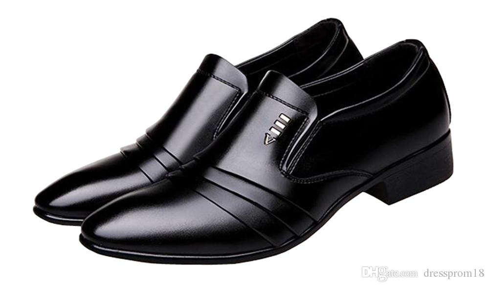 d2b75b017691 2018 Classic Mens Pleated Patent Leather Formal Dress Shoes Slip On Plain  Toe Business Evening Wedding Shoes Dansko Shoes Tennis Shoes From  Dressprom18