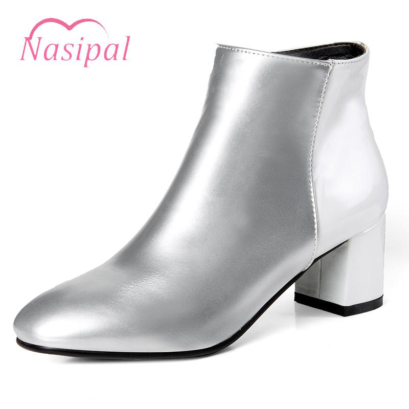 Nasipal Chunky Heels Square Toe Ankle Boots Patent Leather Ladies Martin Boots  Autumn Zipper Botas Mujer Fashion Sapato Feminina Ankle Boots Cheap Ankle  ... f1427ee6e62c