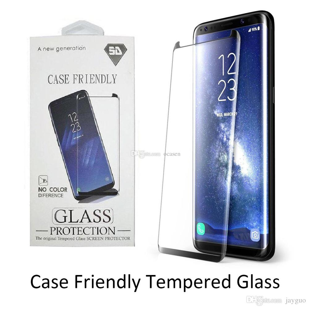 3D Curved Full Tempered Glass For Samsung Galaxy S8 Plus S9 Note 8 Screen Protector Film Explosion-proof With Retail Packaging