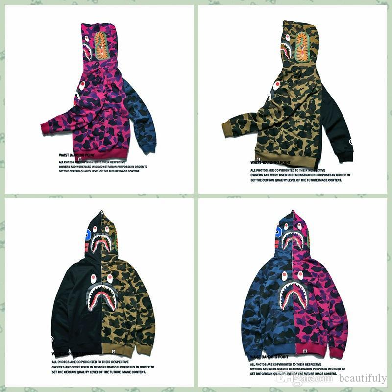 0c28a97833f2 2019 Hot A Bathing A Ape 18Bape Jacket SHARK Head Camo FULL ZIP HOODIE Long  Sleeve Clothes New Hoodie Sweater Face Signature Mens Pullover Hoodie From  ...