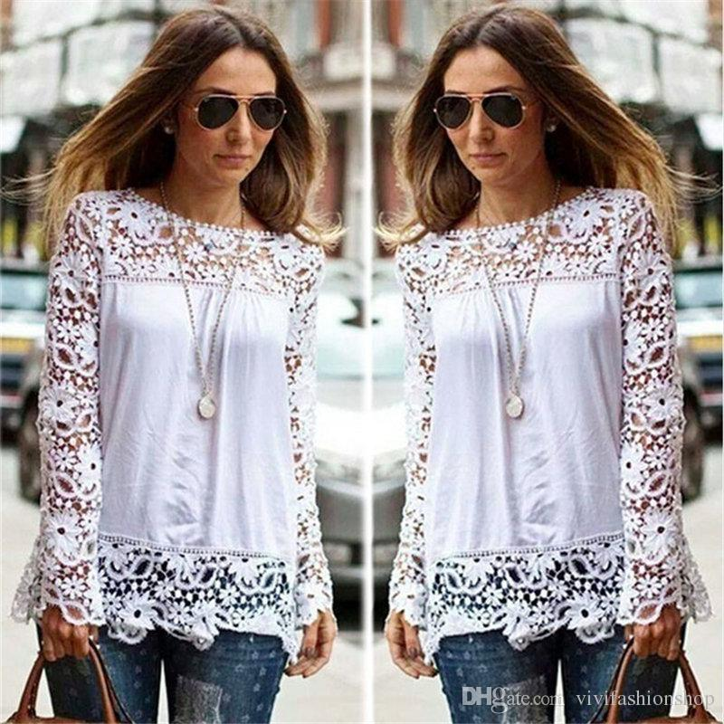 cc2f1b83cac 7XL Women Plus Sizes Chiffon Lace Blouse Shirts Long Sleeve Sexy Top Tees  Solid Autumn Femme Blusas Crochet Women s Blouses DH112 Plus Size Women  Clothing ...