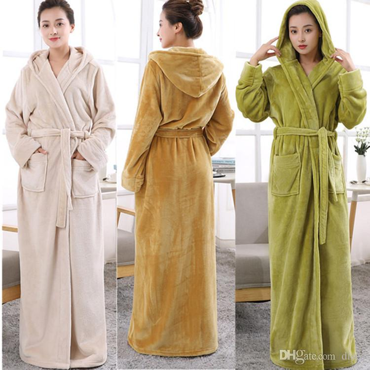 66e1dec412 2019 2018 New Nightgown Autumn And Winter Coral Fleece Couple Morning Gown  Thick Long Flannel Bathrobe Male Bathrobe Clothing Home Service Pajama From  Dises ...