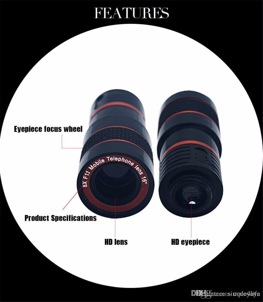 Lentes da câmera 8x zoom telescópio lente olho de peixe grande angular  lente macro para samsung galaxy note 3 4 5 iphone 6 6 s 7 casos de telefone