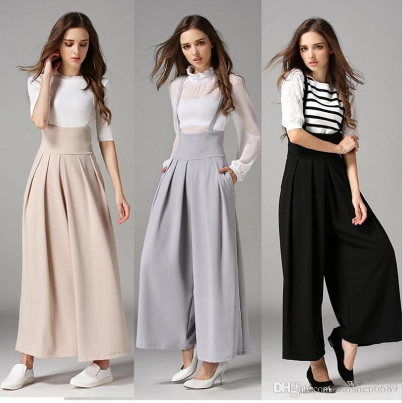 bb9866230b9 2019 2018 European American New High Waist Suspenders Pants Women Trousers  Fashion Wide Leg Pants Casual Nine Pants Suspender Trousers Summer From ...