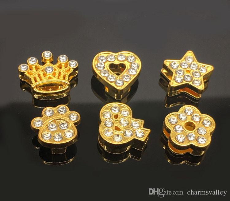 10PCS 8MM Gold Plated Mixed Style Flowers Crown Heart Slide Charms Fit 8mm Belts Bracelets Pet Collars