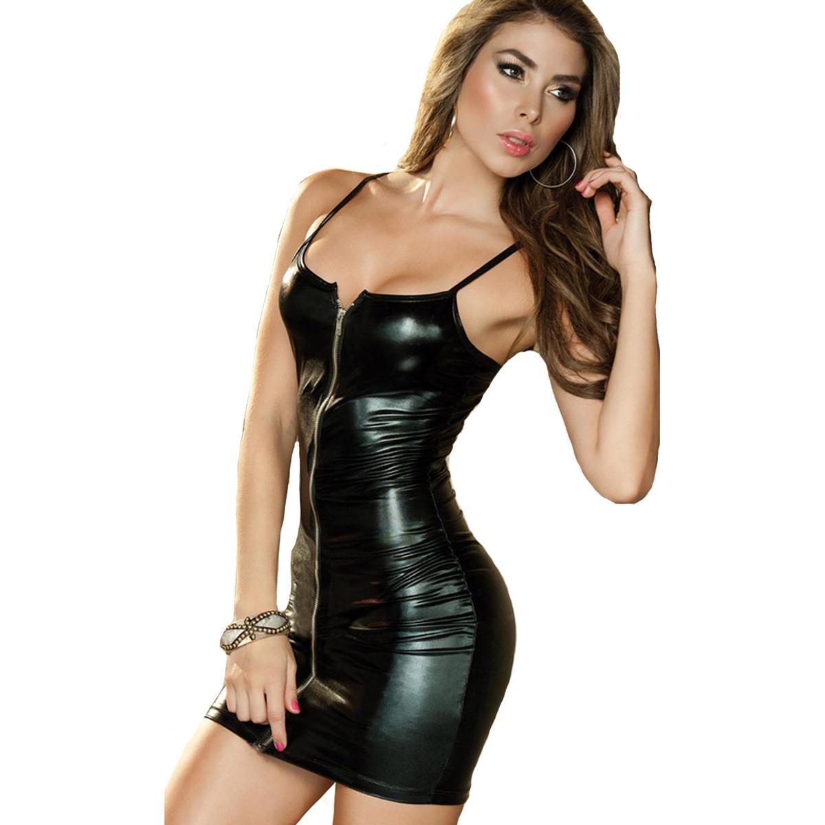 2a75f533fd8f Black Sexy Lingerie Evening Leather Nightgown Dress Sexy Bodycon Bandage  Clubwear Latex Costumes Women Nightdress Babydolls D18110902 Sexy Dress  Bustier ...