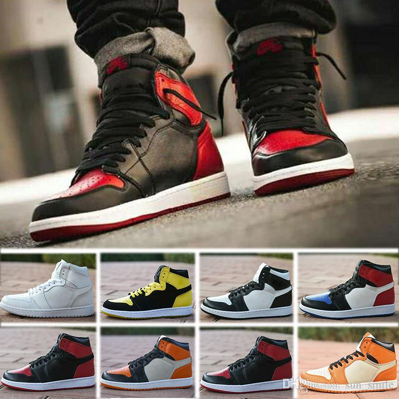 new products c4ed5 fb102 Großhandel Nike Air Jordan 1 Retro Basketball Shoes Top Basketball Schuhe  Männer 1 Og Turnschuhe Aaa Qualität Mandarinente Schwarz Rot Weiß Männer ...