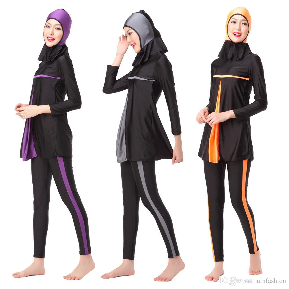 3c1d97492a Newest Muslim Ladies Long Sleeve Swimming Clothes New Muslim Swimsuit  Islamic Swim Wear Full Cover Conservative Burkinis UK 2019 From Uinfashion