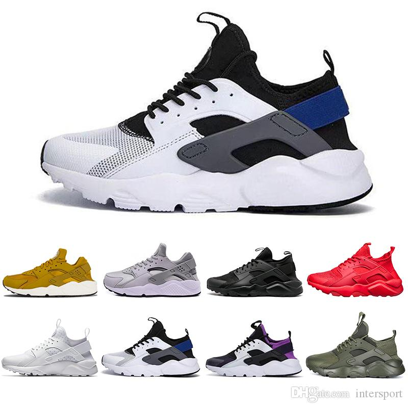 separation shoes 09175 cb7cc Cheaper New Huarache 4.0 1.0 Running Shoes For Men Women Black White Grey  High Quality Sneakers Huaraches Sports Designer Shoes 36-45