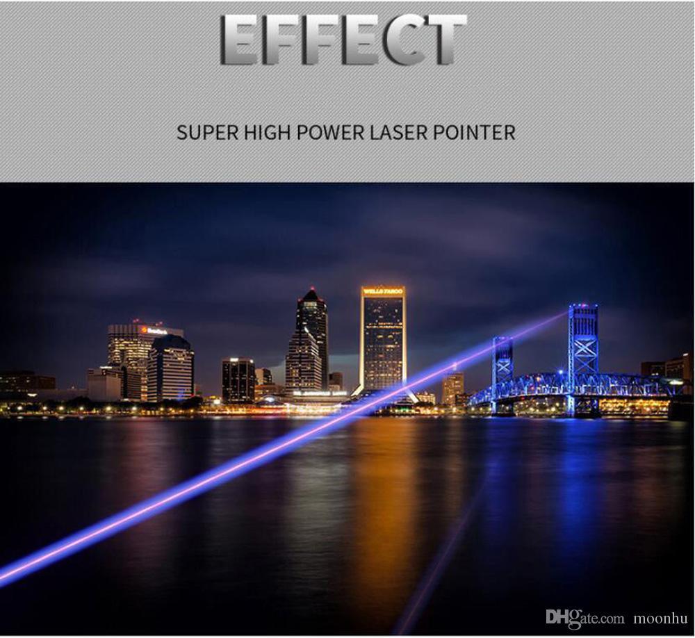 높은 전원 파란색 보라색 빔 레이저 포인터 펜 데모 원격 펜 포인터 프로젝터 포커스 여행 야외 손전등