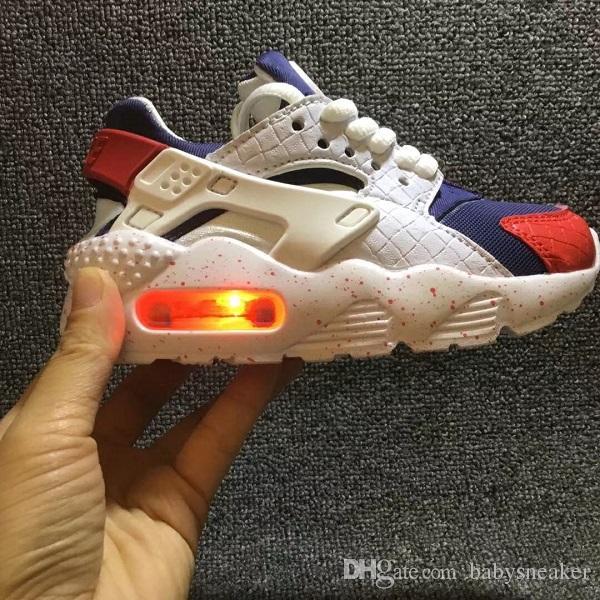 2f0d905131be 2018 Fashion Flash Lighted Kids Air Huarache Children Running Shoes ...