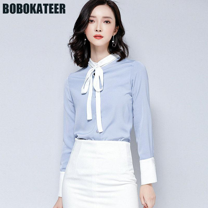 9fe6ecf5e046 2019 BOBOKATEER Women Chiffon Blouse Office Shirt Ladies Long Sleeve Formal Blouses  Womens Tops And Blouses Chemise Haut Femme 2018 From Xiamen2013, ...