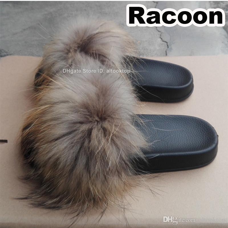 df3f7aba955b5 Luxury Women Fox Hair Sliders Home Furry Summer Flats Ladies Plush Fluffy  Slippers Real Fox Fur Shoes Beach Sandals Racoon Raccoon Color High Heel  Boots ...