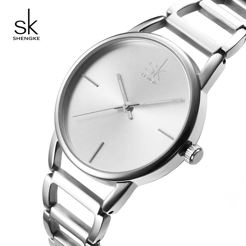 38de428e5b2f Compre Shengke Moda Mujer Relojes Marca De Lujo De Acero Inoxidable Pulsera Reloj  Señoras Reloj De Pulsera De Cuarzo Relojes Mujer 2018 SK Reloj Y18110310 A  ...
