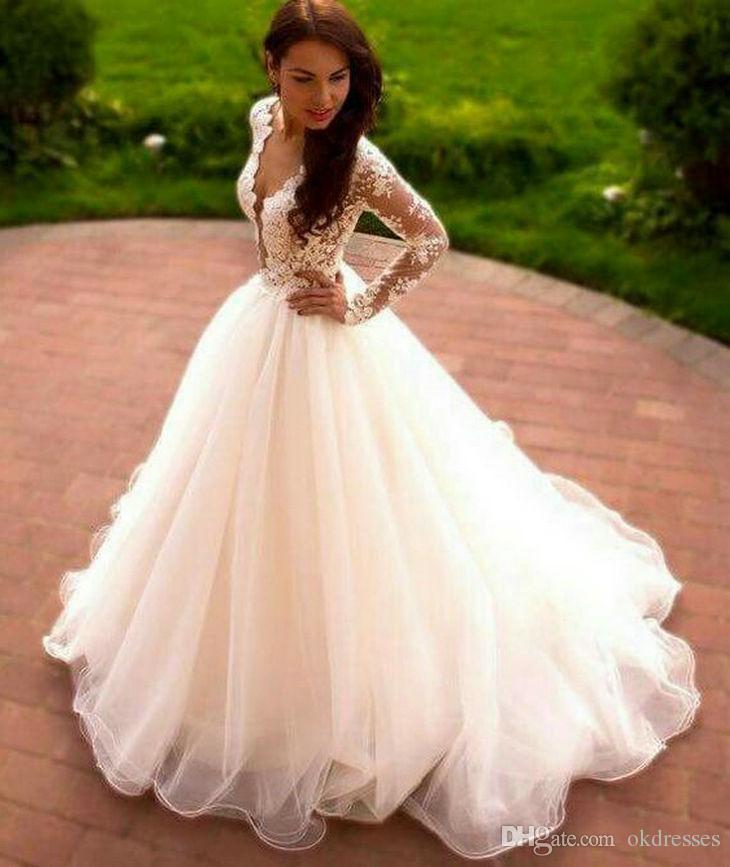 Discount Cheap White Wedding Dress Fancy Long Wedding
