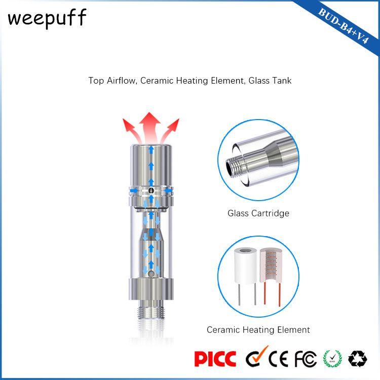 BUD B4 V4 Vape Pen Starter Kit с верхним воздушным потоком керамические катушки нагревательный элемент одноразовые картриджи испарителя