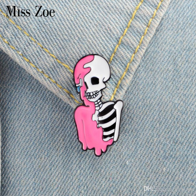 Miss Zoe Half pink skeleton Enamel Pin Punk cool skull brooch Lapel Pin  Simple icons Pins Button Badge Cartoon fashion Jewelry Gift