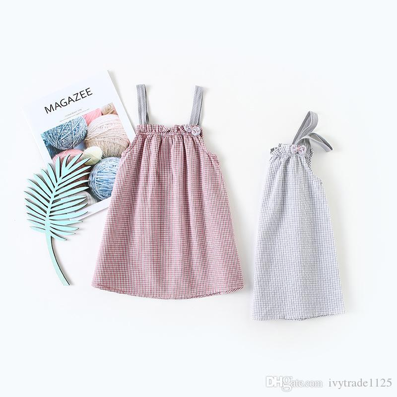 아기 소녀 여름 드레스 키즈 옷 격자 무늬 인쇄 서스펜더 소녀 드레스 소녀 어린이 캐주얼 드레스