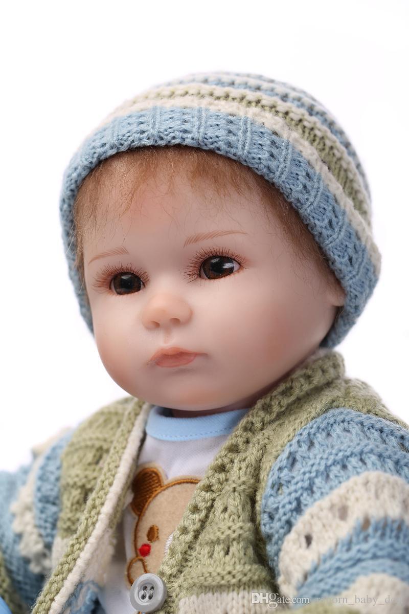 Muñeca reborn de 17 pulgadas juguetes didácticos realista silicona suave vinilo suave toque real