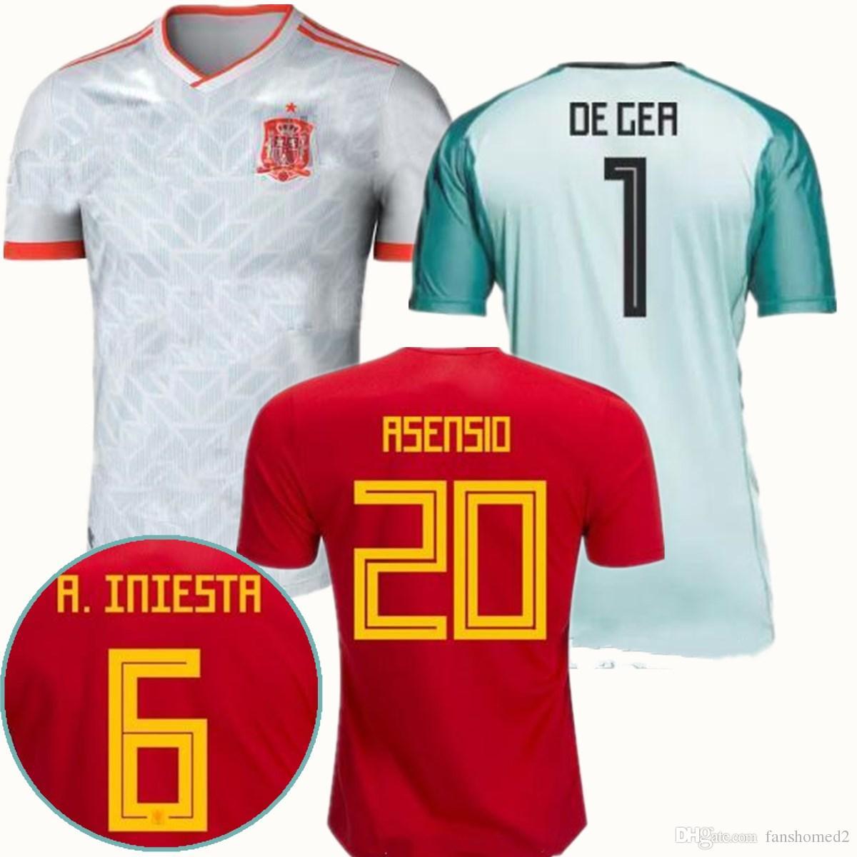 4f4c76f2c 2018 Word Cup Spain De Gea Goalkeeper Soccer Jerseys 2018 Spain  10 ...