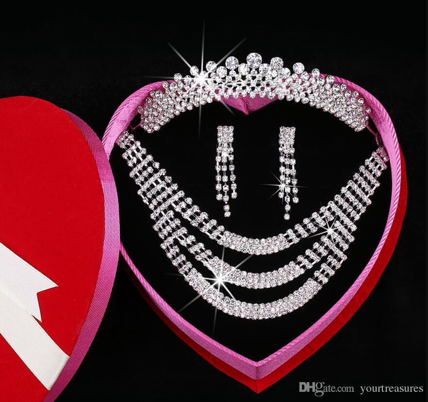 Clear Austrian Rhinestone Crystal Necklace Earrings Set Bridal Crown Tiara Wedding Jewlery 2018 Daisy Korean pearl Crystal