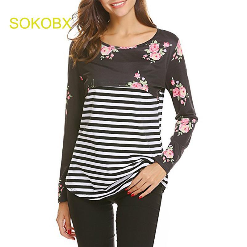 bad68ec19e SOKOBX 2018 Spring Women Pregnant T shits Fashion Striped Patchwork Floral  Long Sleeve Nursing Top Shirts Breastfeeding Clothing