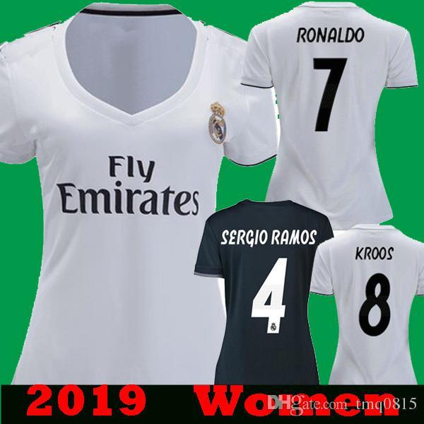 8f43cda536d Compre Mulheres Real Madrid 2018 2019 Ronaldo ASENSIO Branco Preto Camisas  De Futebol Camisetas Menina Fêmea 18 19 Kroos Ramos Modric ISCO Bale Camisas  De ...