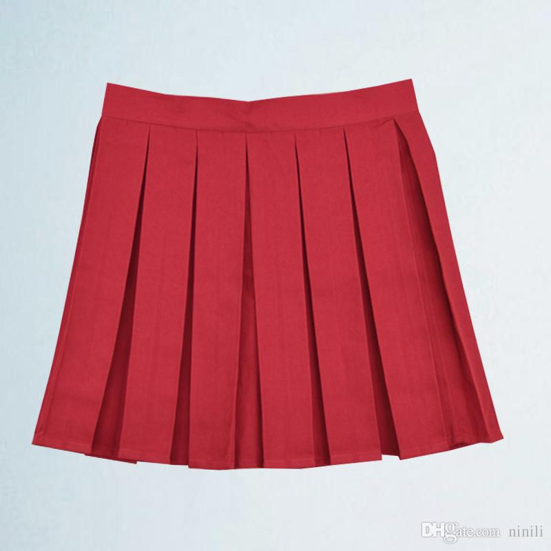 b4e9af38e63 2019 Women All Match A Line Skirt Student High Waist Solid Color Cute Pleated  Skirt Large Size XS 4XL From Ninili