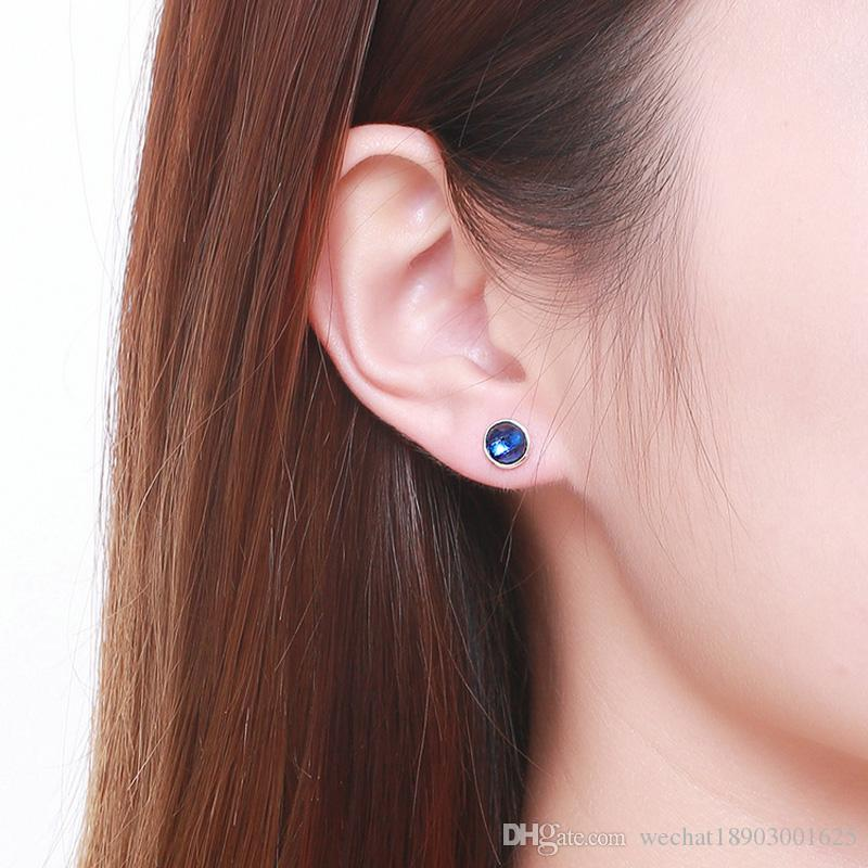 Genuine 925 Sterling Silver September Birthstone Droplets Blue Crystal Stud Earrings For Women Fashion Jewelry Pandora style
