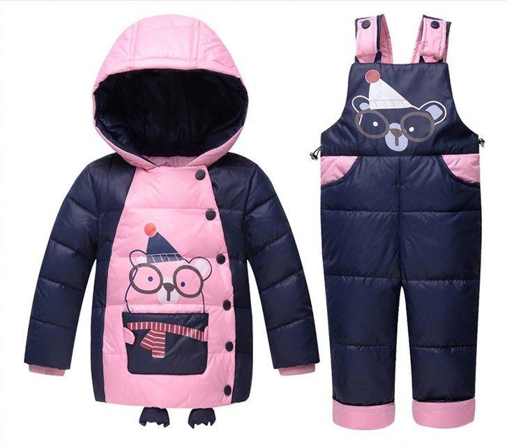 2017 neue Baby Mädchen Jungen Kinder Winter Strampler Kleidung mit Kapuze Design Entendaunen Schnee Sets Anzug Jacke Mantel + Overalls kidsoutwear