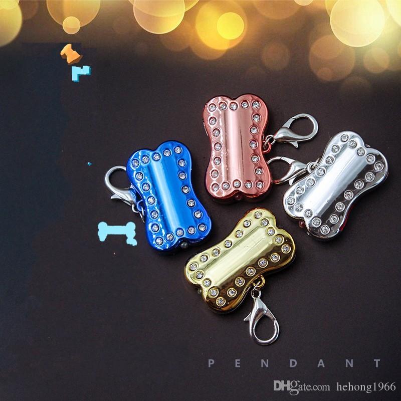 LED-Licht Katze Hundehalsband Anhänger Clip auf Knochen Form Hund blinkt Tag Sicherheit Nacht Walking Lights Schlüsselanhänger 15xc Y