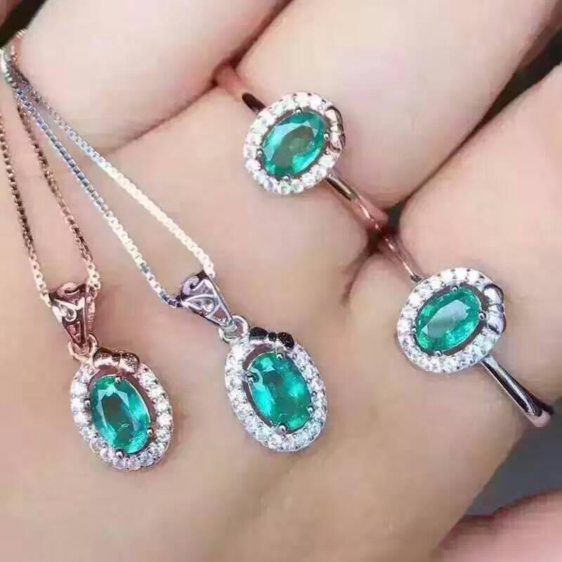 b8e0d3f3a 2019 Fidelity Natural Colombia Emerald S925 Sterling Silver Jewelry Sets  Natural Green Gemstone Rings Pendant Fine Jewelry For Women From Luney, ...