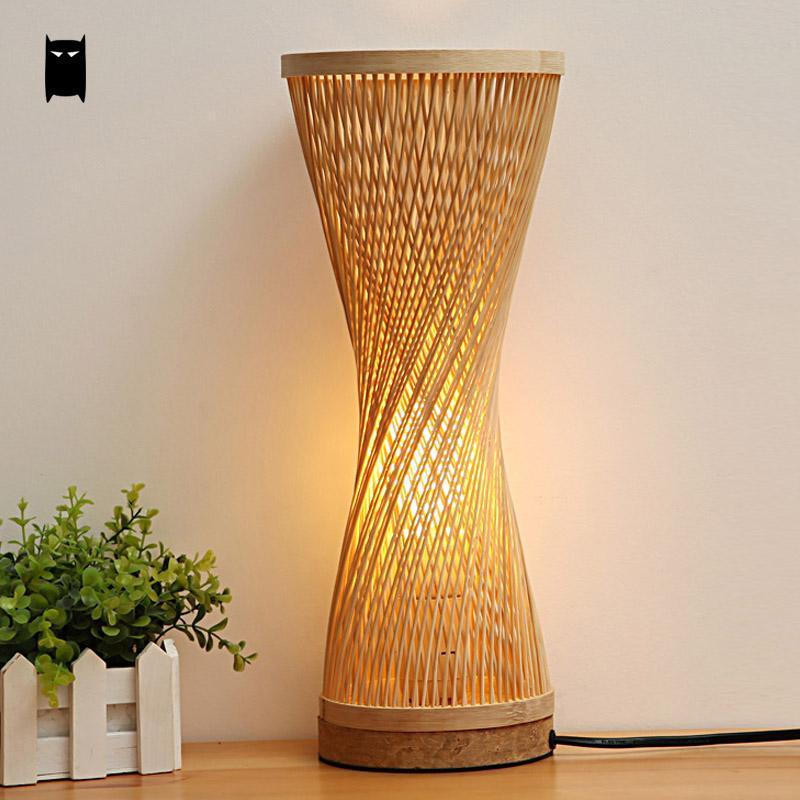 2018 Bamboo Wicker Rattan Spire Vase Table Lamp Fixture Creative Rustic Korean Asian Anese Style Desk Light Abajur Bedroom Bedside From Burty