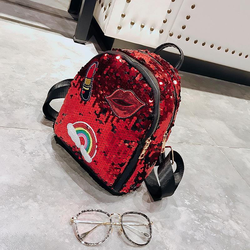 school bag for girls Small hologram bag Sequins Laser with sparkles lips Lipstick children's backpacks for girls mochila escolar