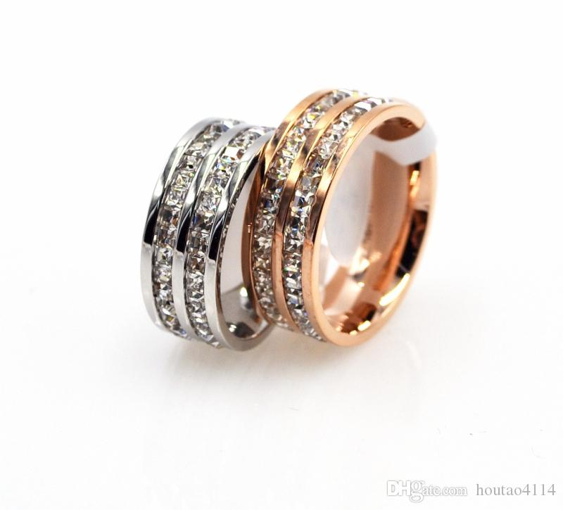 أزياء الفضة التيتانيوم الصلب ضوء خاتم الماس ، التيتانيوم الصلب مجوهرات زوجين الماس خاتم الماس أنثى صف مزدوج روز خاتم الذهب