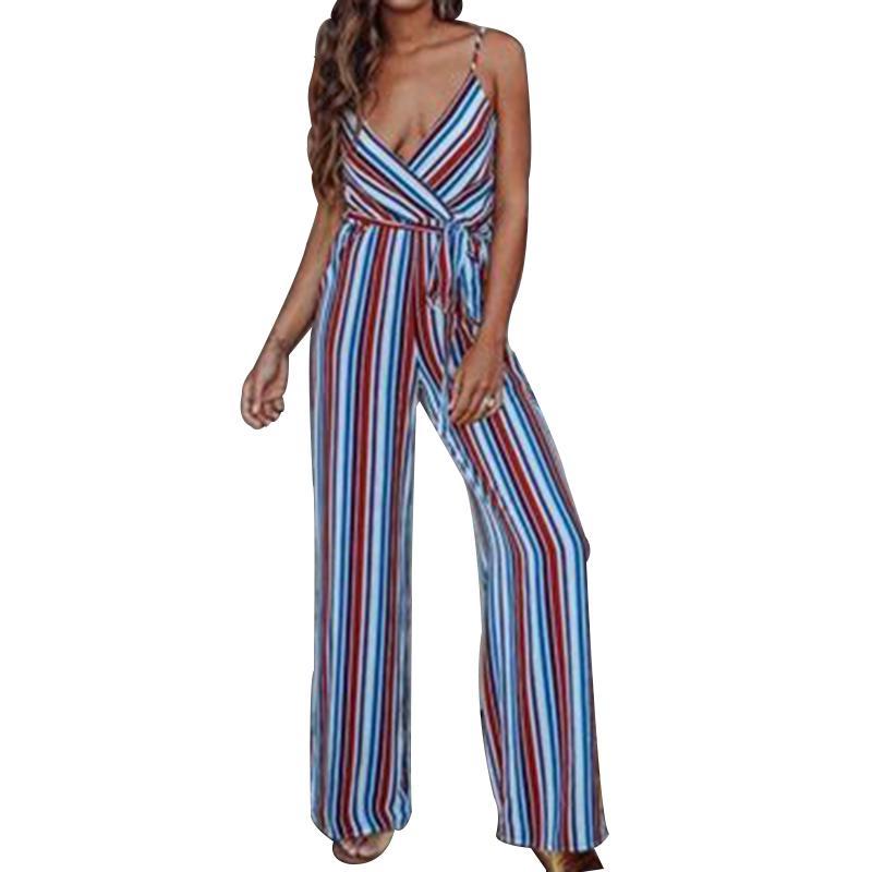 51a2407f05a Sexy Multi Stripe Women Jumpsuit Romper Loose Warp High Waist Summer ...