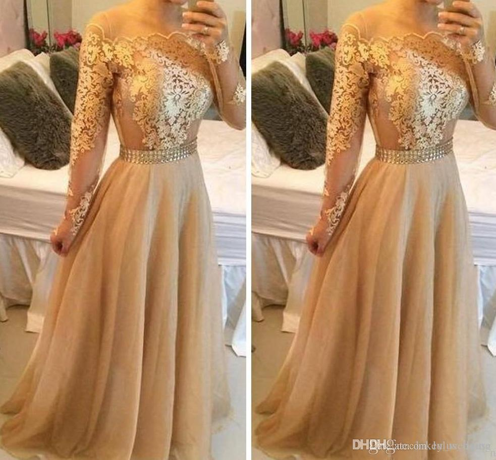 e9a78a3133f1 Gold Lace Prom Dresses Long Formal A Line Off The Shoulder Tulle Floor  Length Long Sleeves Evening Dresses Party Gowns With Crystals Sash Top Prom  Dresses ...