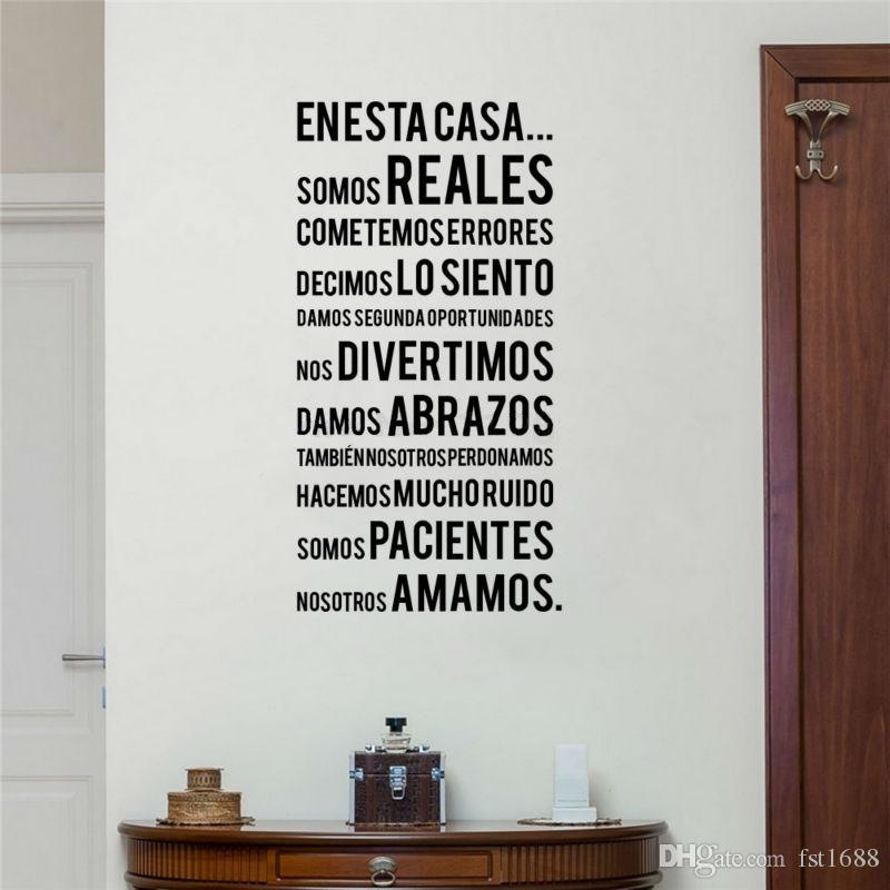 Spanish Family Rules Wall Stickers EN ESTA CASA Words Lettering Vinyl Decals Bedroom Quotes Art Living Room Home Decoration