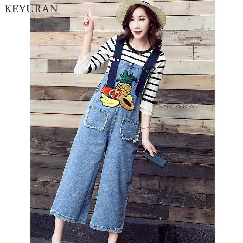 54f7ae04e237 Summer Two Piece Set Denim Jumpsuit Women Black White Stripe Tshirt +  Fruits Embroidery Jeans Overalls Casual Loose Twinset 2088