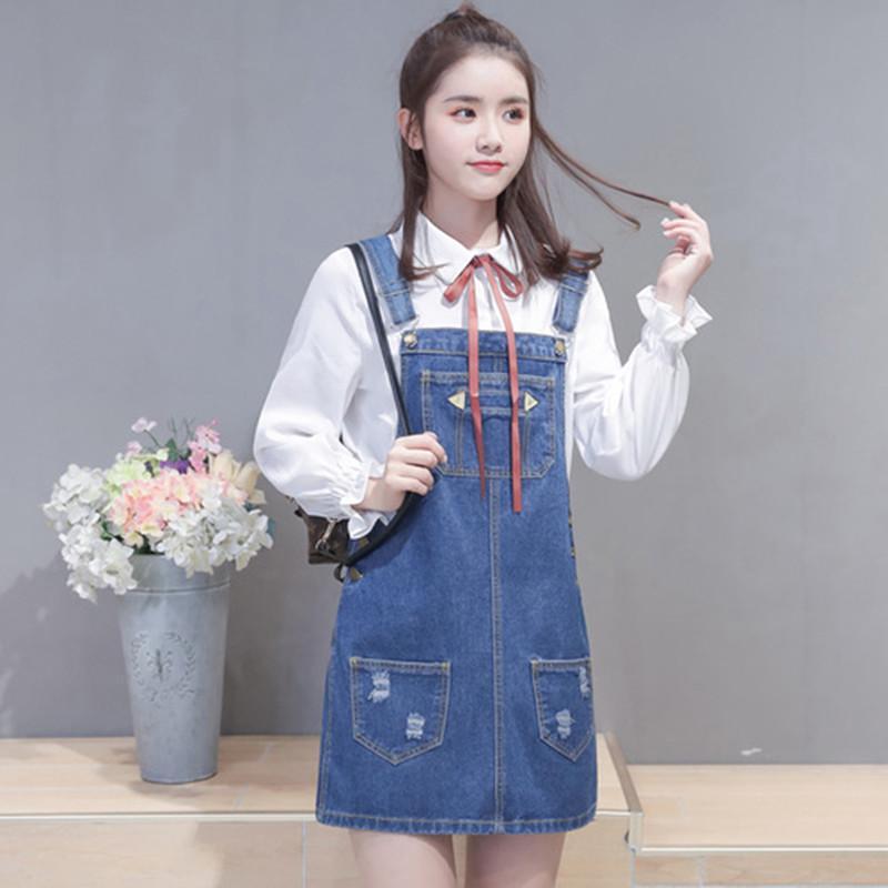 acb036b7dfe 2019 MISSFEBPLUM Korean Fashion 2018 Spring And Summer Women Jeans Dress  Slim Pockets Suspender Strap Denim Sundress Overall Vestidos From  Elizabethy