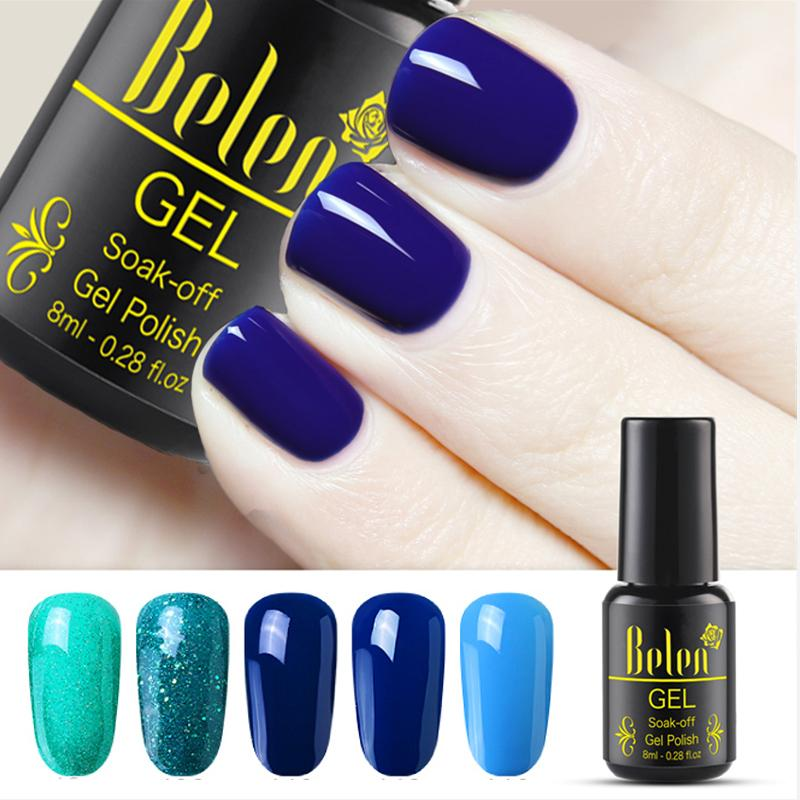 Belen 8ml Blu Verde Bling Glitter UV Gel Polish Manicure Lucido Soak Off Gel Smalto Vernis Semi Permanente Gellak Base Top