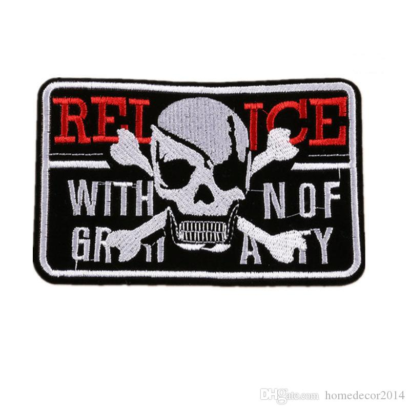2018 Embroidered Patches Skull Letter Sew Iron On Badge Punk For Bag
