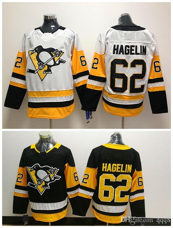 wholesale dealer 4ffff 61b17 2018 New AD Pittsburgh Penguins 62 Carl Hagelin Jersey Black White  Authentic Stitched Hockey Jerseys Mix Order !