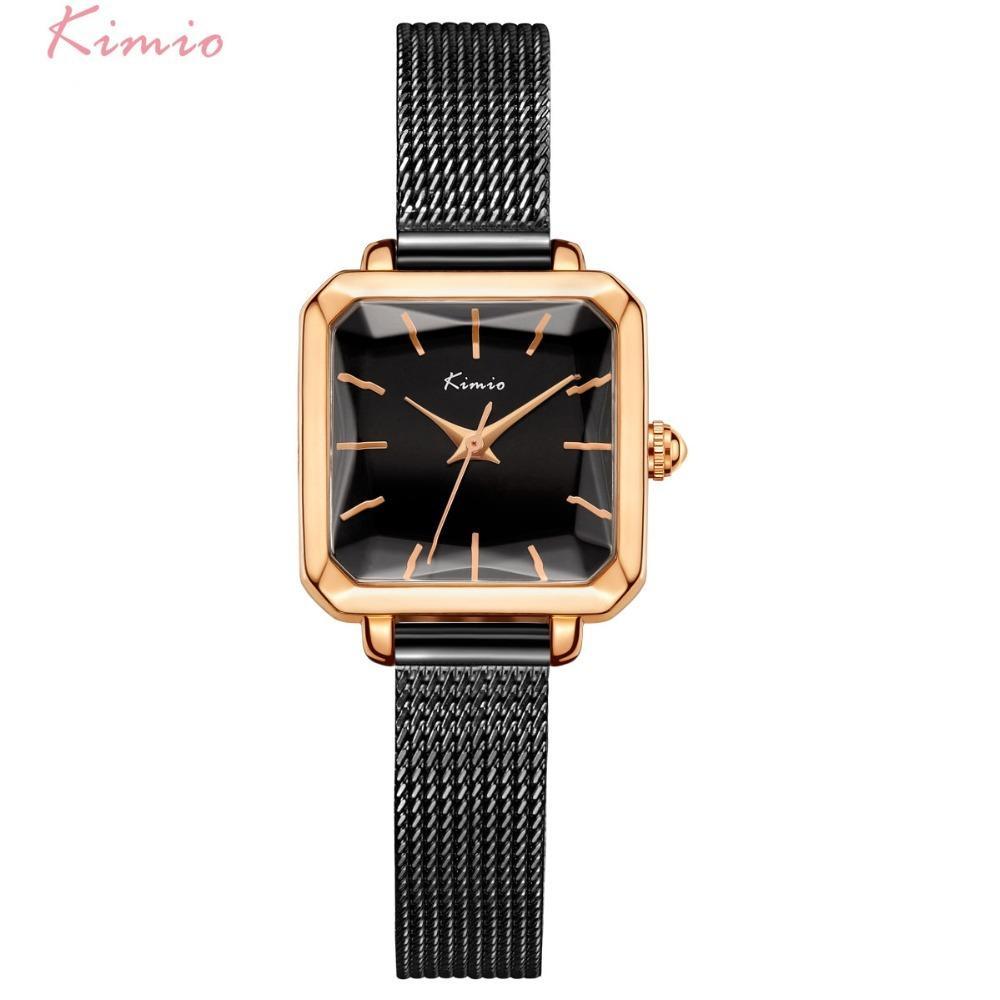 eafaa1ed7c27 Kimio Mujeres Milanesa Pulsera De Malla Relojes Señoras Rectangulares  Multi-faceted Dial Vestido Reloj Para Mujer Mujer Reloj Con Caja Y1890304