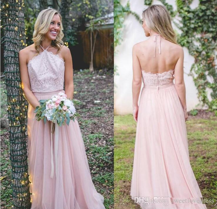 c98613016d27 2018 Light Pink Halter Neck Cuntry Bridesmaid Dresses A Line Backless Lace  Top Maid Of Honor Gowns Western Country Wedding Guest Dress Fuschia  Bridesmaid ...
