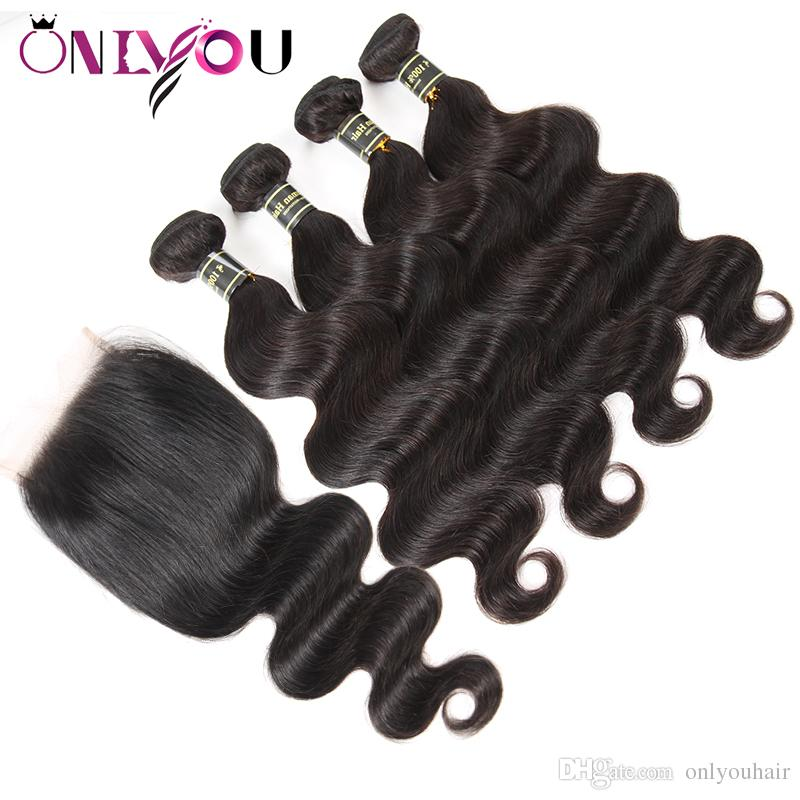 Raw Indian Virgin Hair Body Wave Human Hair Weave 4 Bundles with 4x4 Lace Closure Double Wefts with Weaves Closure Hot Extensions