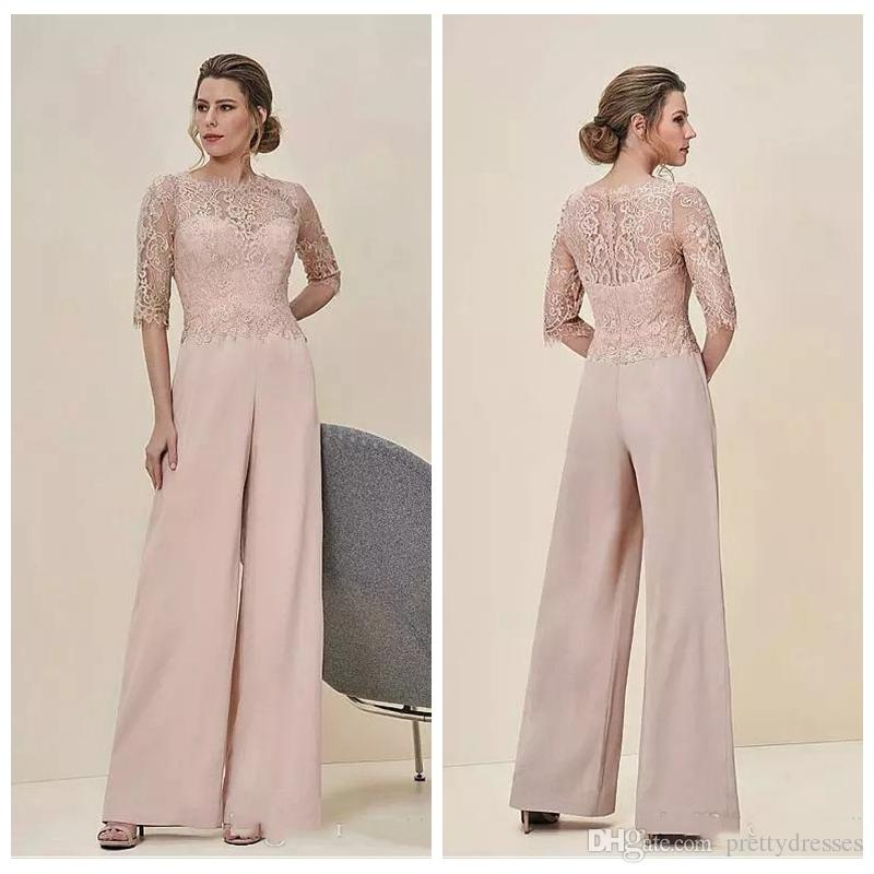 Jumpsuits To Wear To A Wedding: 2019 Lace Top Jumpsuits Formal Mother Of The Bride Pant