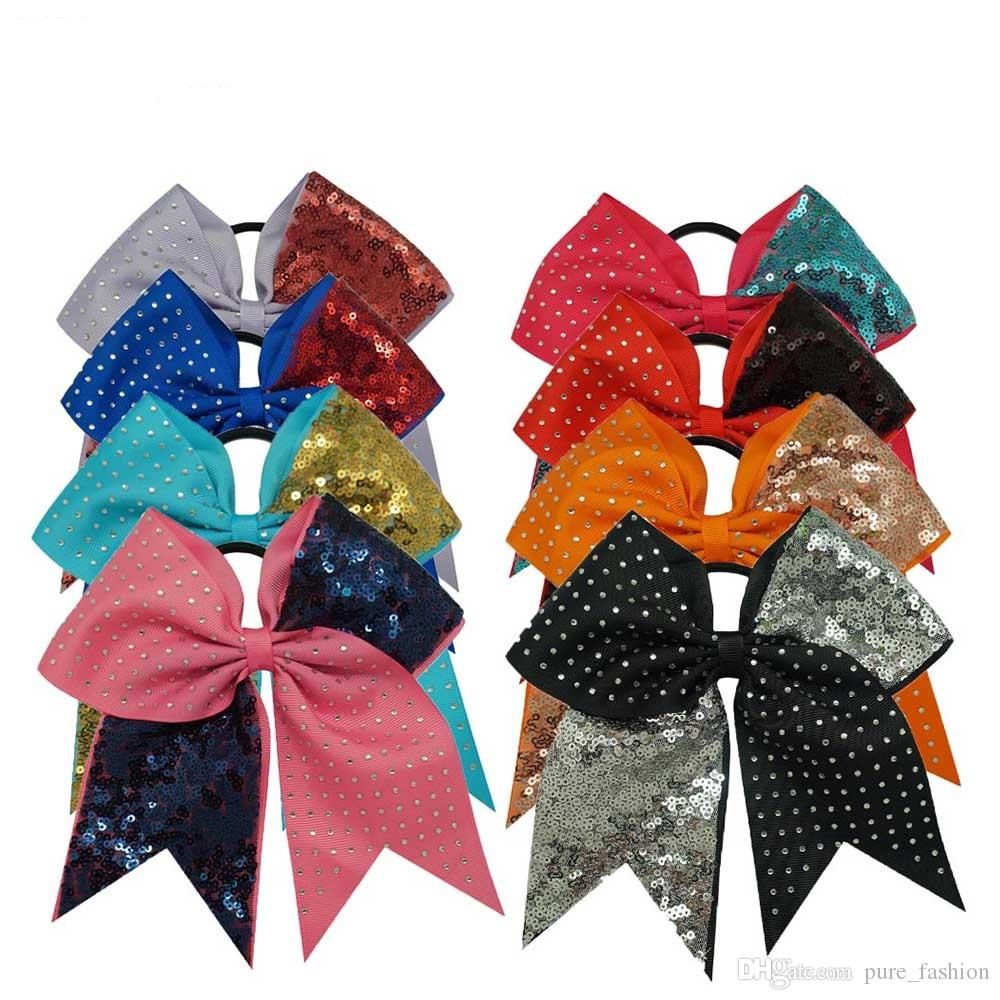 /7'' Solid Sequins Rhinestone Boutique Grosgrain Ribbon Cheer Bow With Elastic Hair Bands For Cheerleading Girl Hair Accessories